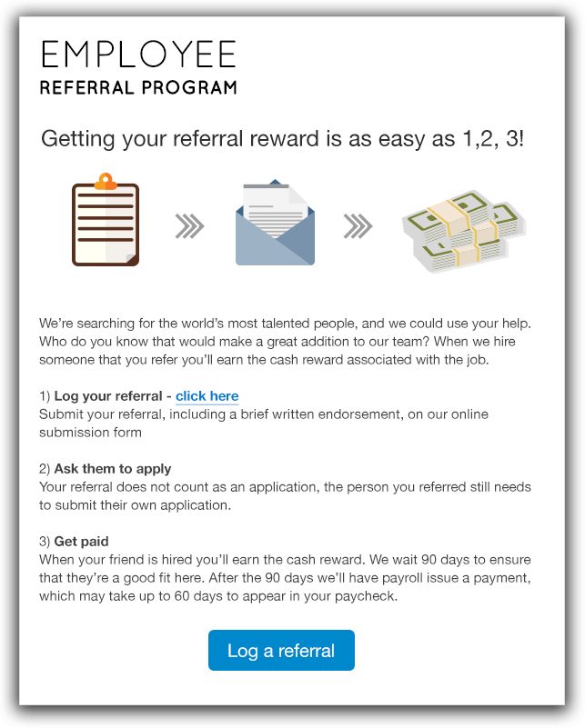 Guide employee referral program for Refer a friend email template